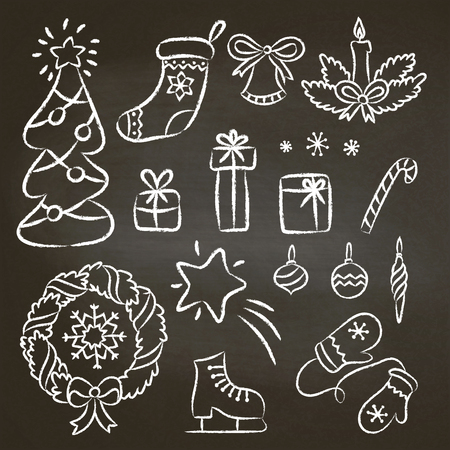 Christmas set of hand drawn chalk contour doodles. Illustration with christmas chalk elements on black board: christmas tree,candy cane, wreath, snowflakes, mittens, gifts.