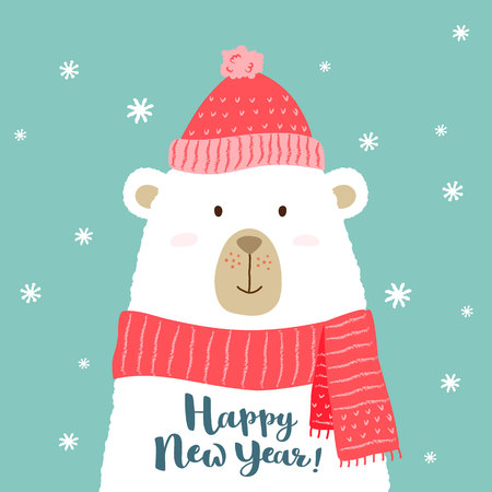 Vector illustration of cute cartoon bear in warm hat and scarf with hand written Happy New Year greeting for placards, t-shirt prints, greeting cards.