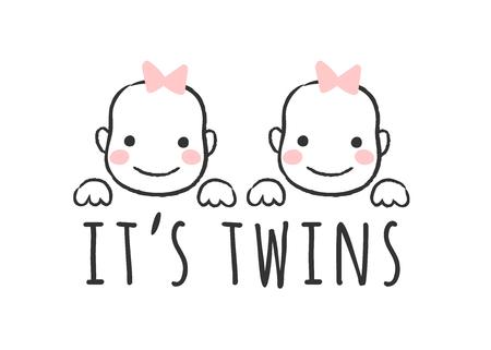 Illustration vectorielle esquissée avec des visages de petite fille et inscription - C'est des jumeaux - pour carte de douche de bébé, impression de t-shirt ou affiche.