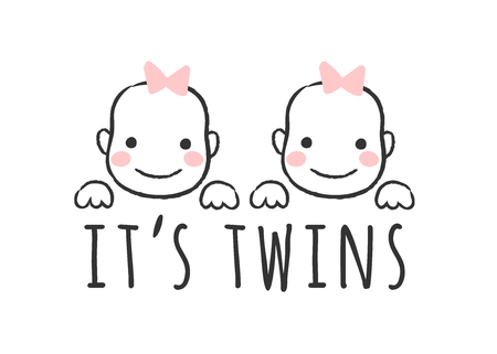 Vector getekende illustratie met baby meisje gezichten en inscriptie - It's twins - voor baby shower card, t-shirt print of poster.