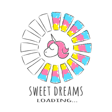 Progress bar with inscription - Sweet Dreams loading and unicorn in sketchy style. Vector illustration for t-shirt design, poster or card. Illustration