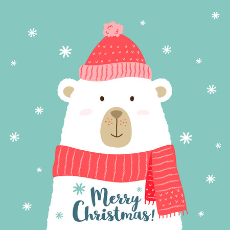 Vector illustration of cute cartoon bear in warm hat and scarf with hand written phrase - Merry Christmas - for placards, t-shirt prints, greeting cards. Illustration