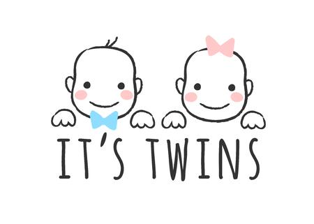 Illustration vectorielle esquissée avec des visages de bébé garçon et fille et inscription - C'est des jumeaux - pour carte de douche de bébé, impression de t-shirt ou affiche. Vecteurs