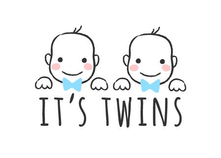 Illustration vectorielle esquissée avec des visages de bébé garçon et inscription - C'est des jumeaux - pour carte de douche de bébé, impression de t-shirt ou affiche.