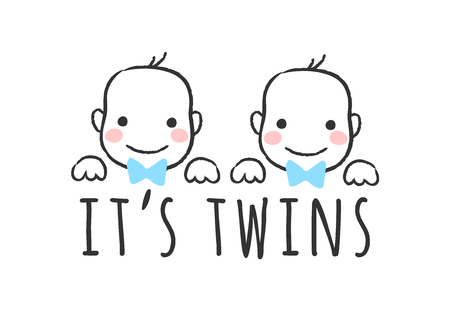 Vector sketched illustration with baby   boy faces and inscription - Its twins  - for baby shower card, t-shirt print or poster.