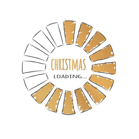 Round golden progress bar with inscription - Christmas loading in sketchy style. Vector christmas illustration for t-shirt design, poster, greeting or invitation card.