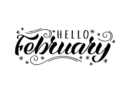 Hello february hand drawn lettering card with doodle snowlakes. Inspirational winter quote. Motivational print for invitation  or greeting cards, brochures, poster, t-shirts, mugs.
