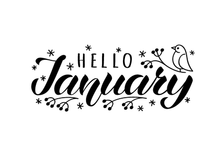 Hello january hand drawn lettering card with doodle snowlakes and bird. Inspirational winter quote. Motivational print for invitation  or greeting cards, brochures, poster, t-shirts, mugs. Illustration