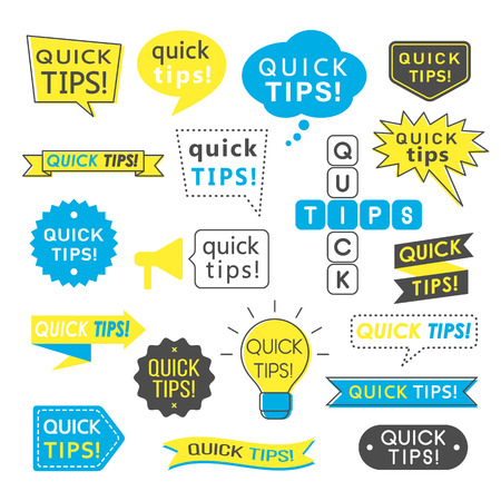 Advice, quick tips, helpful tricks and suggestions logos, emblems and banners isolated on white. Helpful idea, solution and trick illustration for books, magazine, website or typographic materials. Illustration