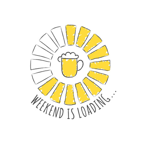 Round progress bar with inscription - Week end is loading and beer glass in sketchy style. Vector illustration for t-shirt design, poster or card. Иллюстрация