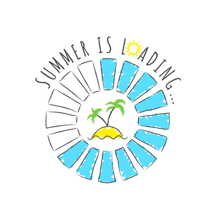 Round progress bar with inscription - Summer loading and palms on the beach in sketchy style. Vector illustration for t-shirt design, poster or card.