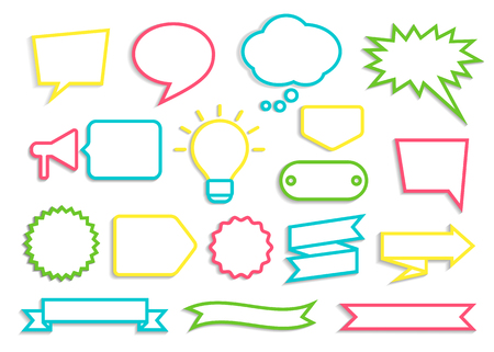 Set of colorful contoured speech bubbles, badges and ribbons with shadow. Vector illustration  for books, magazine, website or typographic materials.