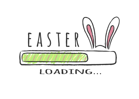 Progress bar with inscription - Easter Loading and bunny ears in sketchy style. Vector illustration for t-shirt design, poster, greeting card, easter decoration. Illustration