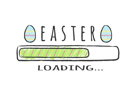 Progress bar with inscription - Easter Loading and decorated eggs in sketchy style. Vector illustration for t-shirt design, poster, greeting card, easter decoration.