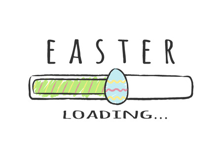 Progress bar with inscription - Easter Loading and decorated egg in sketchy style. Vector illustration for t-shirt design, poster, greeting card, easter decoration.