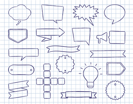 Set of hand drawn speech bubbles, badges and ribbons with quick on lined copy book sheet. Vector illustration in sketchy style for books, magazine, website or typographic materials