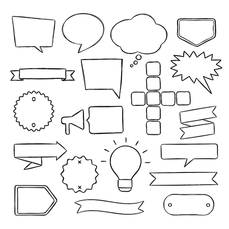Set of hand drawn speech bubbles, badges and ribbons.  Vector illustration in sketchy style for books, magazine, website or typographic materials.