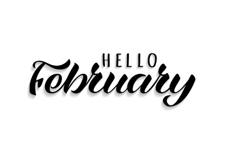Hello February hand drawn lettering with shadow. Inspirational winter quote. Motivational print for invitation  or greeting cards, brochures, poster, calender, t-shirts, mugs. Standard-Bild - 117105018