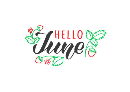 Hello june hand drawn lettering card with doodle leaves and strawberries. Inspirational summer quote. Motivational print for invitation  or greeting cards, brochures, poster, t-shirts, mugs. Standard-Bild - 117105020