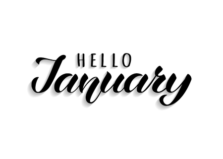 Hello January hand drawn lettering with shadow. Inspirational winter quote. Motivational print for invitation  or greeting cards, brochures, poster, calender, t-shirts, mugs.