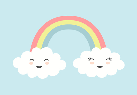 Cute clouds with smiling faces and rainbow on blue sky background. Standard-Bild - 117105023