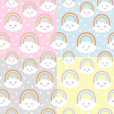 Set of Seamless patterns with cute clouds, rainbow and stars. Nursery background for kids textile, wrapping paper, wallpaper.