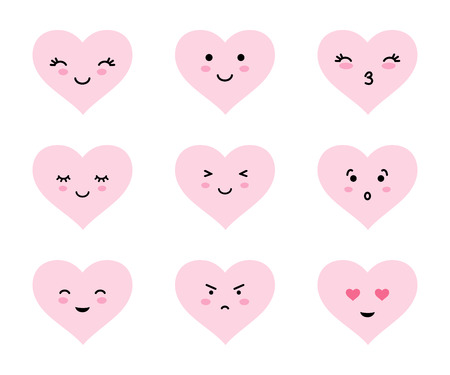 Collection of cute cartoon heart emoticons. Heart shaped emodji set for Valentines day.