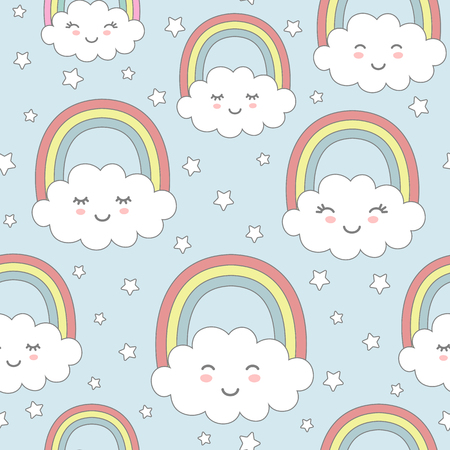 Seamless pattern with cute clouds, rainbow and stars. Nursery background for kids textile, wrapping paper, wallpaper.