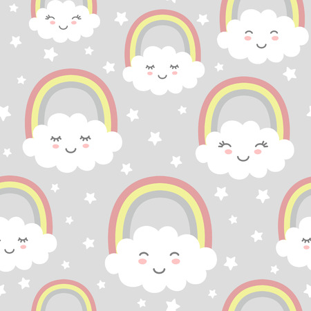 Seamless pattern with cute clouds, rainbow and stars. Nursery background for kids textile, wrapping paper, wallpaper. Standard-Bild - 117105116