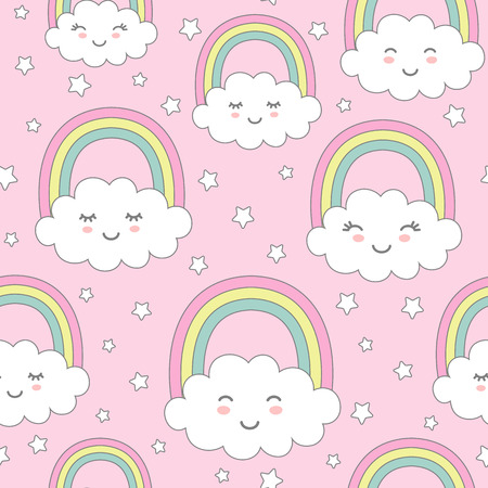 Seamless pattern with cute clouds, rainbow and stars. Nursery background for kids textile, wrapping paper, wallpaper. Standard-Bild - 117105117