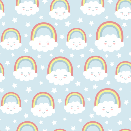 Seamless pattern with cute clouds, rainbow and stars. Nursery background for kids textile, wrapping paper, wallpaper. Standard-Bild - 117105118