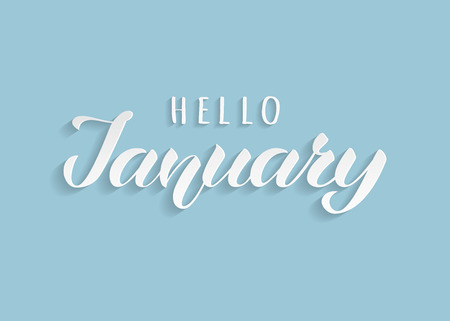 Hello January hand drawn lettering with shadow. Inspirational winter quote. Motivational print for invitation  or greeting cards, brochures, poster, calender, t-shirts, mugs. Standard-Bild - 117105122