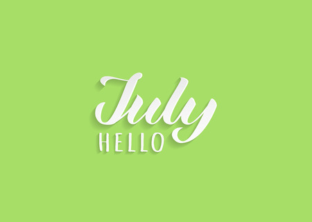 Hello July hand drawn lettering with shadow. Inspirational winter quote. Motivational print for invitation  or greeting cards, brochures, poster, calender, t-shirts, mugs. Ilustracja