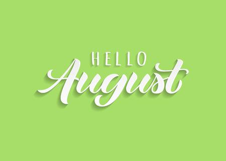 Ciao agosto lettering disegnato a mano con ombra. Citazione invernale ispiratrice. Stampa motivazionale per inviti o biglietti di auguri, brochure, poster, calendari, t-shirt, tazze.