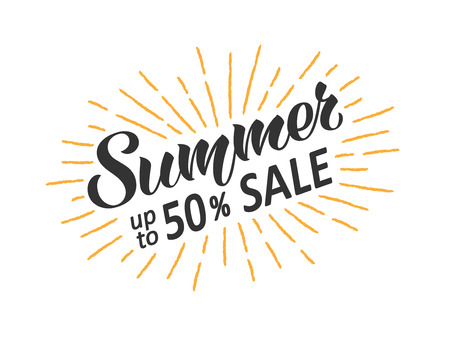 Summer sale hand written lettering with retro styled sun rays. Discount banner, vector illustration.