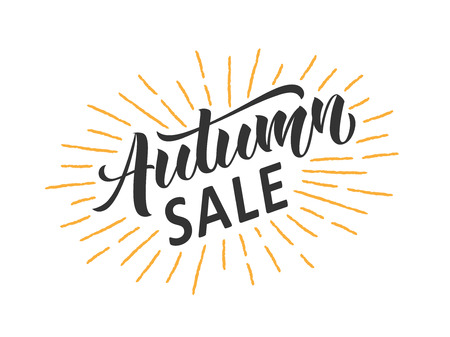 Autumn sale hand written lettering with retro styled sun rays. Discount banner, vector illustration.