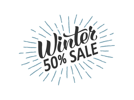 Winter sale hand written lettering with retro styled sun rays. Discount banner, vector illustration. Ilustracja