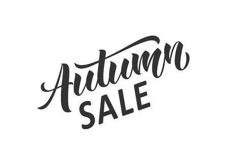 Autumn sale hand written lettering. Hand drawn season sale inscription. Discount banner, vector illustration. Illustration