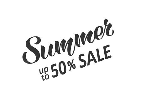 Summer sale hand written lettering. Hand drawn season sale inscription. Discount banner, vector illustration.