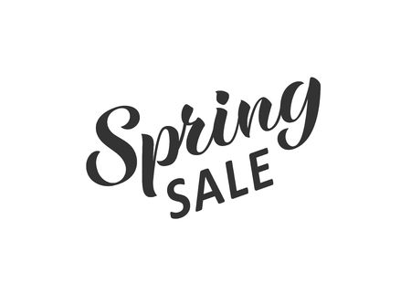 Spring sale hand written lettering. Hand drawn season sale inscription. Discount banner, vector illustration.