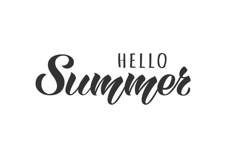 Hello Summer hand drawn lettering card. Inspirational summer quote. Motivational print for invitation  or greeting cards, brochures, poster, t-shirts, mugs.  イラスト・ベクター素材