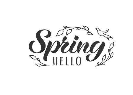 Hello Spring hand drawn lettering card with doodle tree branches and bird. Inspirational spring quote. Motivational print for invitation  or greeting cards, brochures, poster, t-shirts, mugs.