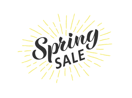 Spring sale hand written lettering with retro styled sun rays. Discount banner, vector illustration.