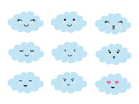Set of cloud shaped emoji with different mood. Kawaii cute clouds emoticons and Japanese anime emoji faces expressions. Vector cartoon style comic icons set. Illustration