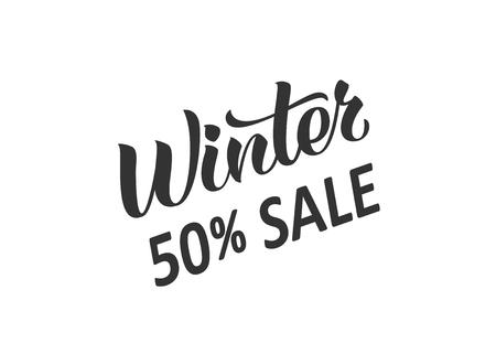 Winter sale hand written lettering. Hand drawn season sale inscription. Discount banner, vector illustration.