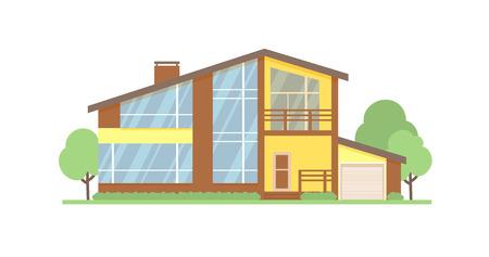 Illustration vectorielle plane de façade de maison de chalet. Maison moderne à deux étages, villa, chalet, maison de ville, extérieur architectural immobilier.