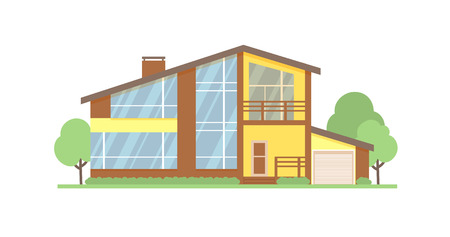Cottage house facade flat vector illustration. Two-storey modern house, villa, cottage, townhouse, real estate architectural exterior.