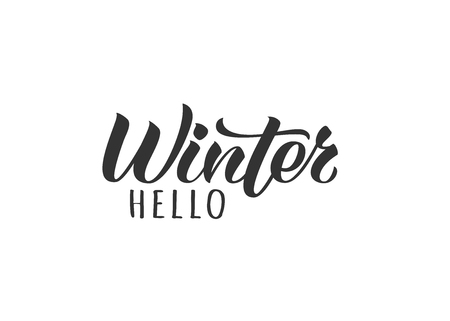 Hello Winter hand drawn lettering card. Inspirational winter quote. Motivational print for invitation  or greeting cards, brochures, poster, t-shirts, mugs.  イラスト・ベクター素材