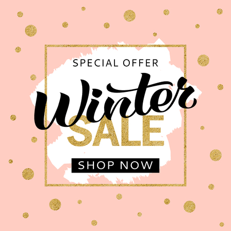 Winter sale banner design template with golden glitter and lettering for flyer, invitation, poster, web site. Special offer, seasonal sale advertisment.