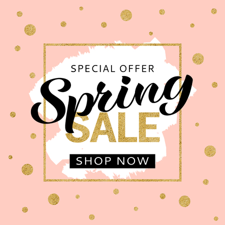 Spring sale banner design template with golden glitter and lettering for flyer, invitation, poster, web site. Special offer, seasonal sale advertisment.  イラスト・ベクター素材